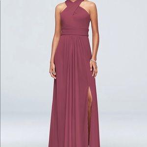 David's Bridal Crisscross Mesh Bridesmaid Dress